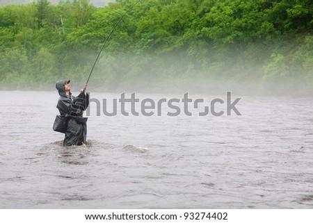 Fisherman caught a salmon. Rain. Fog. Morning. - stock photo
