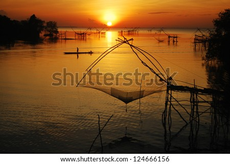 Fisherman fishing and big net in Thale noi, phatthalung, Thailand