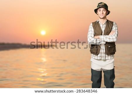 Fisherman, Fishing, Fishing Vest. - stock photo