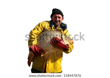 Fisherman Holding a Big Fish. Portrait of fisherman with big carp fish in his hands isolated on white background. - stock photo