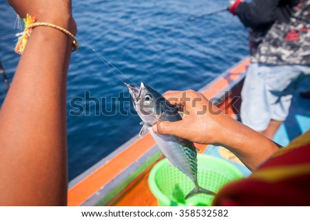 fisherman holding tuna fish on hand with hook on the boat in andaman sea - stock photo
