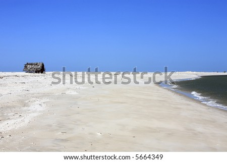 fisherman house on atins beach in the Lencois Maranheses National Park - stock photo