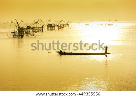 Fisherman on sea by bird eye view - stock photo