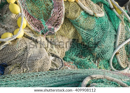 Fisherman, rigs and fishing nets with a port in Mallorca, Spain. Detail of wires and cords - stock photo