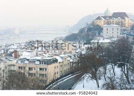 Fisherman's Bastion at winter, Budapest - stock photo