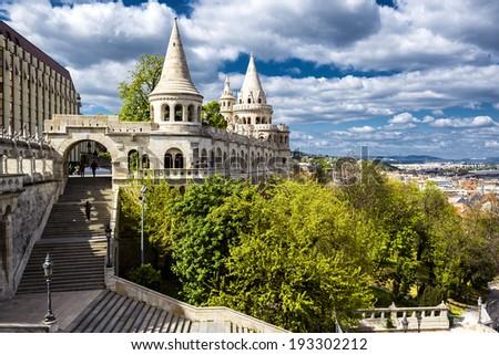 Fisherman's Bastion. Budapest city. Hungary - stock photo