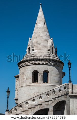 Fisherman's Bastion built in neo-gothic style with conical roofs and towers, in Budapest city, Hungary - stock photo