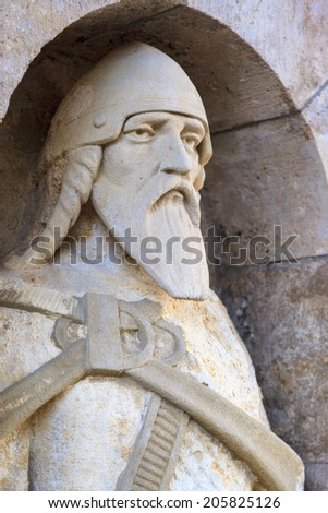 Fisherman's Bastion in Budapest   The  Guardians - stock photo