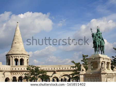 Fisherman's Bastion with St. Stephen statue in Budapest - stock photo