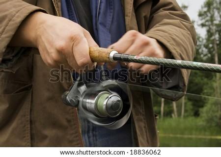 Fisherman's closeup - stock photo