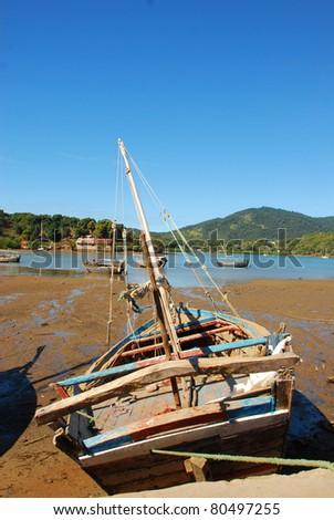 fisherman ship of madagascar - stock photo