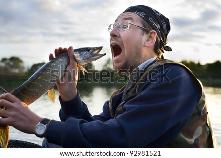 Fisherman shouting at fish