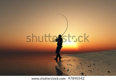 Fisherman silhouette at sunset. - stock photo