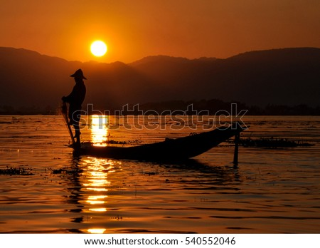 "Fisherman silhouette at sunset  ""Inle lake"" Myanmar"