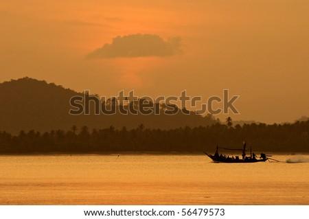 Fisherman village at Pitak island, Chumporn Thailand - stock photo