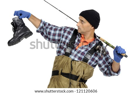Fisherman with fishing rod and old boot isolated in white - stock photo