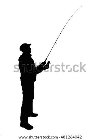 fisherman with spinning rod silhouette