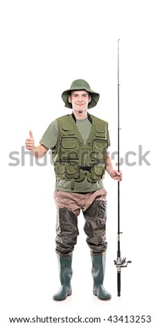 Fisherman with thumbs up isolated on white background - stock photo