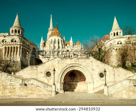 Fishermans Bastion in Budapest, Hungary. This image is toned - stock photo