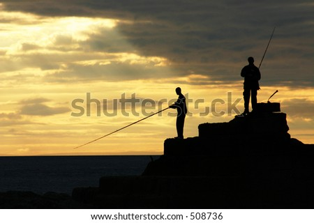 fishermen at sunset (landscape)