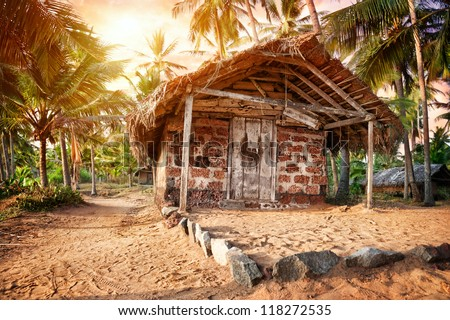 Fishermen hut in the tropical village near the ocean in India