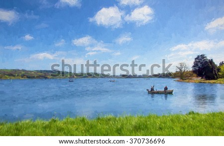 Fishermen in a boat on Blagdon Lake Somerset in Chew Valley at the edge of the Mendip Hills south of Bristol uk illustration like painting