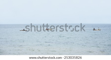 Fishermen out Fishing on Three Traditional Mokorokoros on Lake Malawi, Malawi, Africa - stock photo