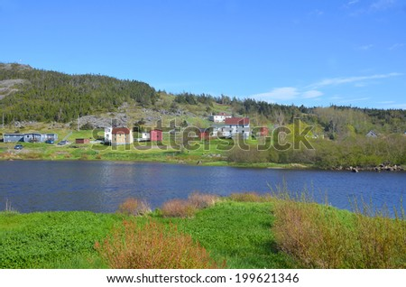 Fishermen village on coastline of Newfoundland and Labrador, Canada - stock photo