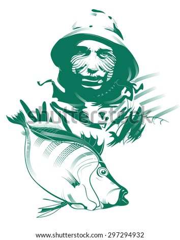Fishery. Collage fish factory, fishing company, old fisherman portrait. Business concept illustration