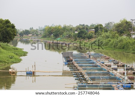 Fishery on a river, Thailand - stock photo