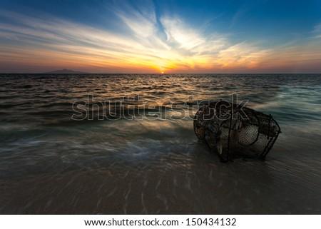 Fishery. Tropical beach, Bamboo Island, Andaman Sea, Thailand - stock photo