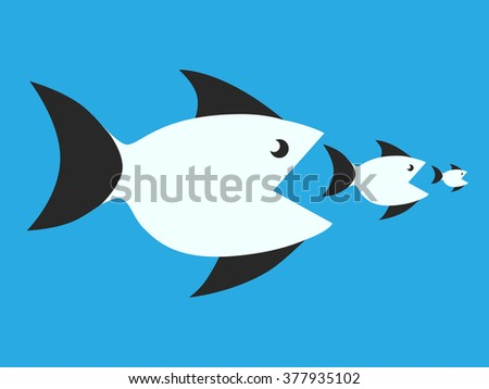 Fishes eating smaller ones. Food chain, competition, merger, business, monopoly concept - stock photo
