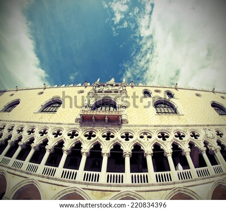 fisheye doges palace in Venetian-style architecture in Venice by fisheye lens - stock photo