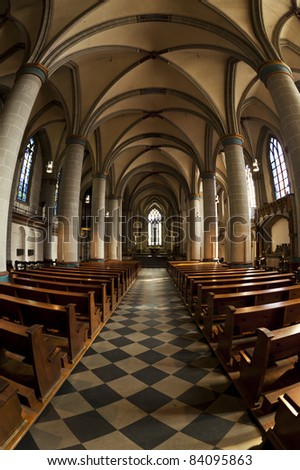 fisheye view of Essen cathedral