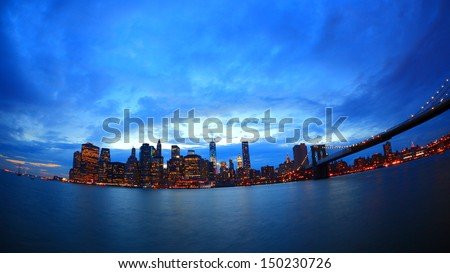 Fisheye view of Manhattan and brooklyn bridge, New York - stock photo