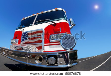 fisheye view of the fire engine - stock photo