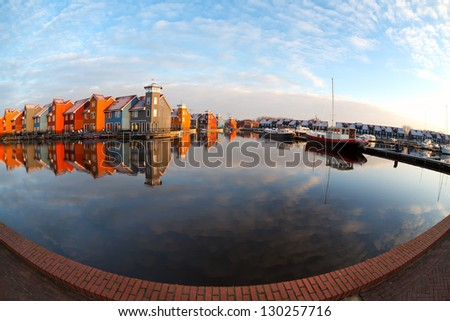 fisheye view on Reitdiephaven in Groningen after sunrise - stock photo