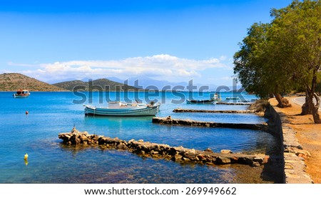 Fishing and pleasure boats off the coast of Crete. Elounda, Crete, Greece, Europe