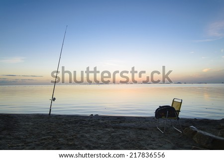 Fishing at Dawn in Los Alcazares, Spain - stock photo