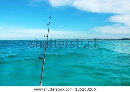 fishing at the sea - stock photo