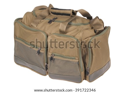Fishing bag on white. Clipping path included. - stock photo