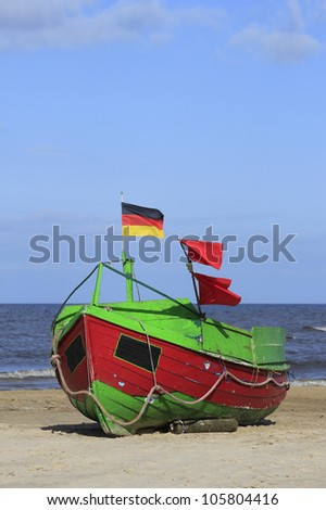 Fishing boat at the beach on the island of Usedom, Baltic Sea, Mecklenburg-Western Pomerania, Germany