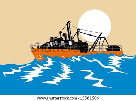 Fishing boat battling huge swells - stock photo