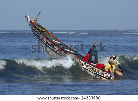 Fishing boat in Africa - stock photo