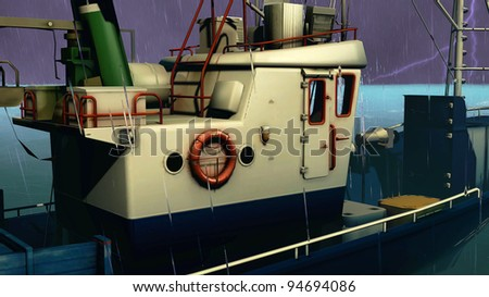 Fishing boat in the storm