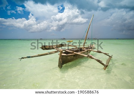 Fishing boat in Zanzibar - stock photo
