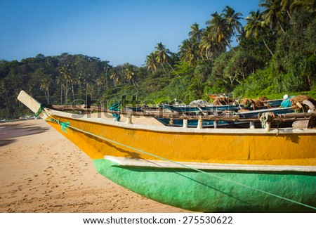 Fishing boat on a tropical beach with palm trees in the background - stock photo