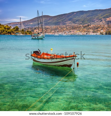 Fishing boat on Poros, Greece - stock photo