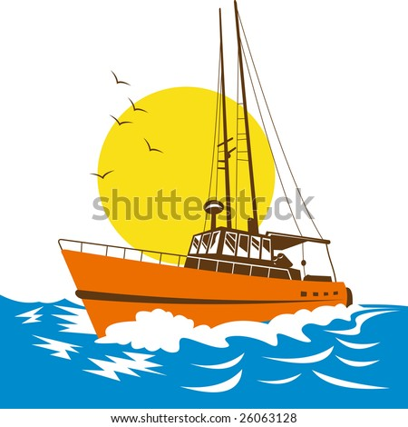 Fishing boat on rough seas - stock photo