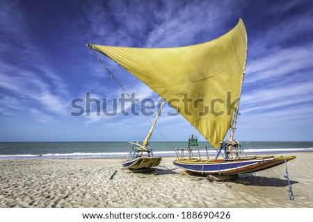 Fishing boat on the beach of Natal, Brazil - stock photo